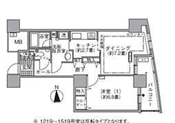 アクティ汐留 12階1DKの間取り