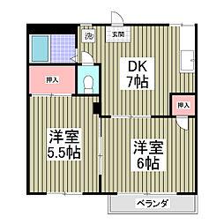 埼玉県行田市門井町3丁目の賃貸アパートの間取り
