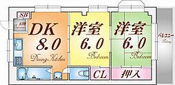 兵庫県神戸市長田区川西通5丁目の賃貸マンションの間取り
