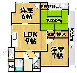兵庫県川西市見野3丁目の賃貸マンションの間取り