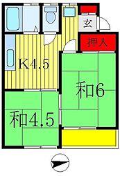 グリーンハイム吉岡B棟[2階]の間取り