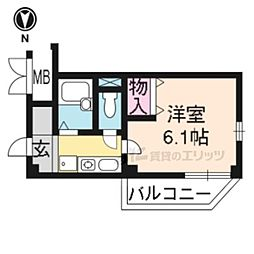 阪急京都本線 桂駅 徒歩4分の賃貸マンション 1階1Kの間取り