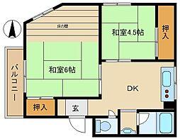 兵庫県尼崎市上坂部3丁目の賃貸マンションの間取り