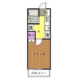 千葉県千葉市若葉区若松台1丁目の賃貸アパートの間取り