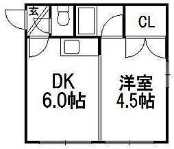 平岸コーポラス千豊[2階]の間取り