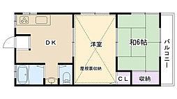 兵庫県西宮市柳本町の賃貸アパートの間取り