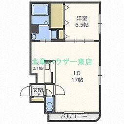 北海道札幌市東区北十五条東9丁目の賃貸マンションの間取り