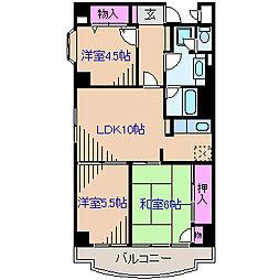 神奈川県横浜市港北区篠原東2丁目の賃貸マンションの間取り
