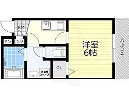 大阪モノレール本線 柴原阪大前駅 徒歩6分の賃貸アパート 3階1Kの間取り