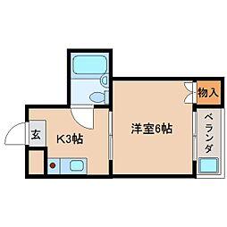 近鉄天理線 天理駅 徒歩5分の賃貸マンション 3階1Kの間取り