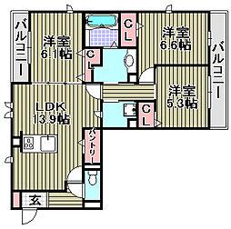 (仮称)D−room和泉市池上[2A号室]の間取り