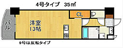 ロイヤルノースナイン[13階]の間取り