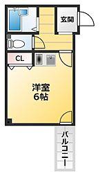 ナニワ3番館 5階ワンルームの間取り