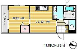 兵庫県神戸市兵庫区下祇園町の賃貸マンションの間取り