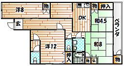 福岡県北九州市八幡東区西本町4丁目の賃貸マンションの間取り