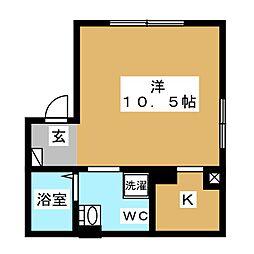 エアリアル錦糸町 2階ワンルームの間取り