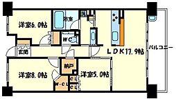 ル・サンク南千里ローレルコート[4階]の間取り