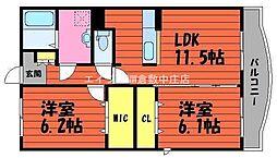岡山県倉敷市中島の賃貸マンションの間取り