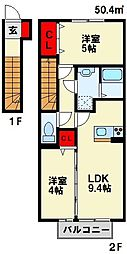 福岡県北九州市八幡西区大字楠橋の賃貸アパートの間取り