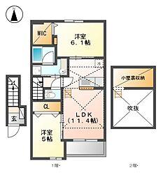 愛知県名古屋市北区中味鋺2丁目の賃貸アパートの間取り