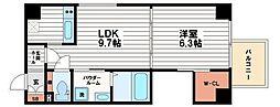 大阪府大阪市中央区博労町1丁目の賃貸マンションの間取り