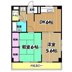 東京都八王子市絹ケ丘2丁目の賃貸マンションの間取り