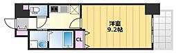 TKアンバーコート津久野 6階1Kの間取り