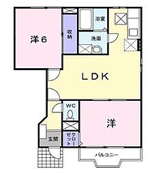 広島県福山市田尻町の賃貸アパートの間取り