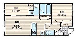 東急池上線 久が原駅 徒歩10分の賃貸アパート 1階2LDKの間取り