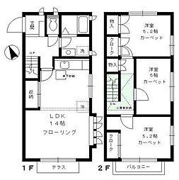 [テラスハウス] 東京都大田区中央5丁目 の賃貸【/】の間取り