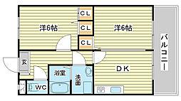 兵庫県姫路市飾磨区英賀春日町2丁目の賃貸マンションの間取り
