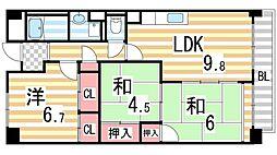 サニーヒル忍ケ丘[208号室]の間取り