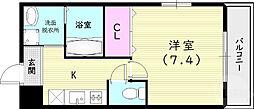 フジパレス尼崎ガーデンII番館 2階1Kの間取り
