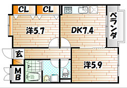 フェルト1215[4階]の間取り