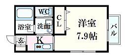 felice(フェリーチェ)牛田東 2階1Kの間取り