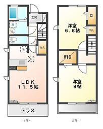 東京都三鷹市野崎3丁目の賃貸アパートの間取り