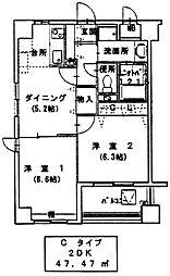 パークハイツ城下 3階2DKの間取り
