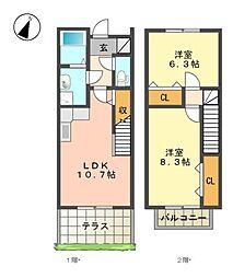 [テラスハウス] 愛知県名古屋市名東区平和が丘2丁目 の賃貸【/】の間取り