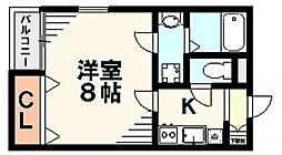 千葉県千葉市中央区道場南2丁目の賃貸アパートの間取り