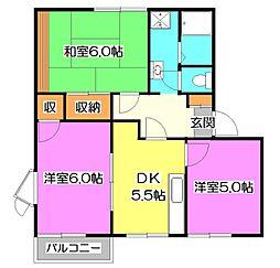 埼玉県所沢市大字下安松の賃貸アパートの間取り