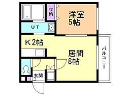 モンテリブロ札幌東 3階1LDKの間取り