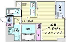 仙台市営南北線 仙台駅 徒歩12分の賃貸マンション 7階ワンルームの間取り