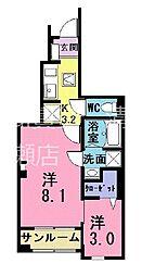西武池袋線 ひばりヶ丘駅 バス5分 火の見下下車 徒歩4分の賃貸アパート 1階1SKの間取り