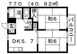 大阪府羽曳野市島泉6丁目の賃貸アパートの間取り