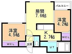 Lunon Sapporo Sta. 4階2LDKの間取り