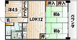 福岡県北九州市小倉南区徳力3丁目の賃貸マンションの間取り