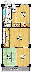 日商岩井上甲子園マンション[4階]の間取り