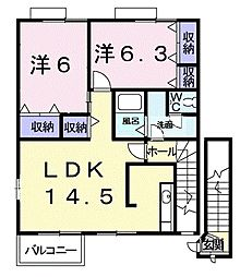 ラフィーネ堀ノ内[2階]の間取り