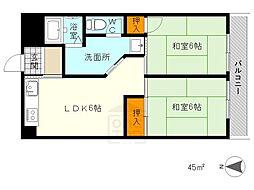 香川花園ハイツ[40C号室]の間取り