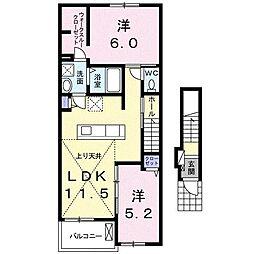 東梶返4丁目アパートA[202号室]の間取り